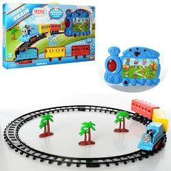 Железная дорога 88978 TH,д59см,паровоз-пульт(обуч-цифр,животн,зв-анг,св),локом-свет,на бат