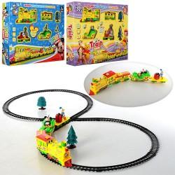 Железная дорога HX2016-07-08 диам45см,локомотив,вагоны 3шт, муз, свет, 2вида (WP,DSM),в кор-