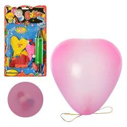 Шарики надувные MK 0017 сердце,8шт,микс цветов,наполнитель,мишура,насос,на листе,17-28,5-3см