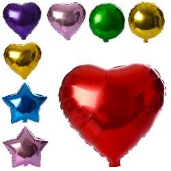 Шарики надувные фольгированные MK 1343 44см, 3вида(шар,сердце.звезда),микс цветов