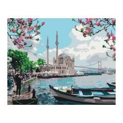"""Набір для розпису по номерах. Міський пейзаж """"Турецьке узбережжя""""  40*50см"""