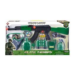 Набор военного M016C автомат-трещотка,маска,рация,бинокль,часы,компас,в кор-ке, 53,5-26-5,5см