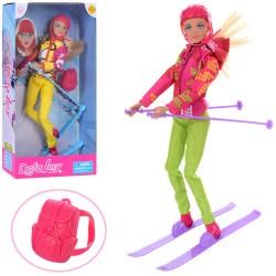 Кукла DEFA 8373  шарнирная, 30см, лыжи, рюкзак, шлем, 2вида, в кор-ке, 18-34-7см