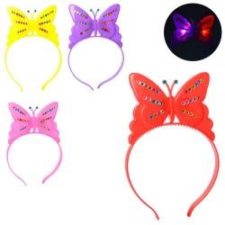 Аксессуары для праздника MK 2079 обруч для волос, бабочка,свет, 4цв, на бат(таб), в кульке