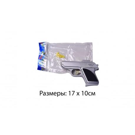 Пистолет 807 (серебро) без пулек в пакете 17*10см
