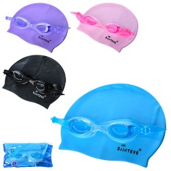 Набор для плавания D25637 шапочка-22-19см, очки-регул.ремешок,4цвета,в кульке,21-10-4см
