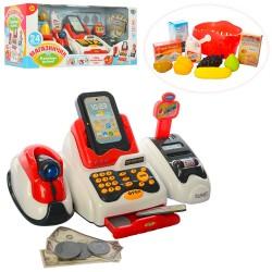 Кассовый аппарат 668-48 сканнер,звук,свет,продукты,корзинка,на бат,в кор-ке,43,5-21-17см
