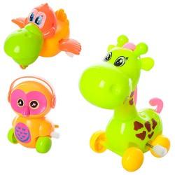 Заводная игрушка 0828-38-58B от9см,3вида(жираф,сова,уточка),подв.детали,в кульке,10,5-7-6см