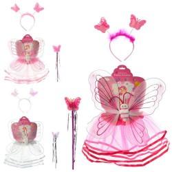 Крылья карнавальные 6211 бабочка 40-39см, юбка 28см,обруч,палочка,3цв,в кульке, 48-41-2см