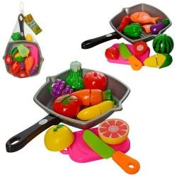 Продукты 3016C на липучке, сковородка, нож, досточка, 2вида, в сетке, 30-20-6см