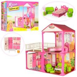 Домик 6982B 2этажа,81-82-40,5см,3комнаты,мебель,для куклы29см,в кор-ке,60-42-18см