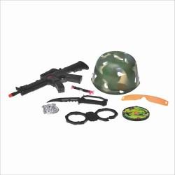 Каска 8028 воен набор: автомат-трещотка, бинокль, фляга, нож, в сетке, 37см
