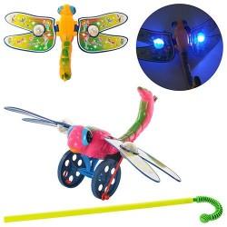 Каталка 1803-11 стрекоза29-19-17см,на палке37,5см,машет крыльями,свет,2цв,в кульке,20-15-6см
