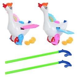 Каталка 986-1 на палке,лебедь,несет яйца, яйца3шт,машет крыльями,2цвета,в кульке,27-21-13см