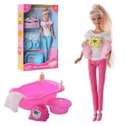 Кукла DEFA 8213 (29см,2-ое детей(4см),ванночка,горшок,миска,2 цвета, в кор-ке, 32,5