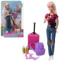 Кукла DEFA 8389-BF 30см, чемодан, рюкзак, фотоаппарат, 2цвета, в слюде, 20,5-32-6см