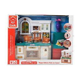 Мебель 3021-3 кухня, 27см, звук,свет,посуда,на бат-ке, в кор-ке, 39-29-10,5см