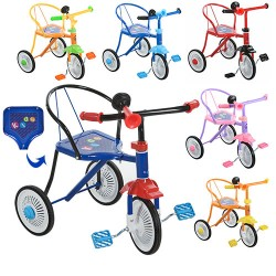 Велосипед М 5335 (3 колеса,6 цветов:красн,синий,голубой,желтый,оранж,розов,клаксон, 51-52-40см