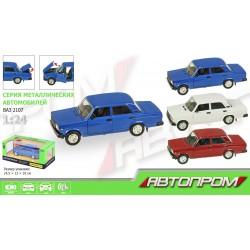 """Машина металл 2107 """"АВТОПРОМ""""батар,свет,звук,откр.двери,капот,багаж., в кор. 24,5*12,5*10см"""