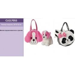 Мягкая игрушка CLG17055 животное в сумочке,2 вида, 20*8*16 см