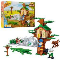 Конструктор BANBAO 6656 сафари, домик на дереве,фигурки,животные, 168дет, в кор-ке, 33-24-7см