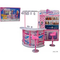 """Мебель """"Gloria"""" 98006 ( барная стойка, стулья,посуда,в кор. 30*21,5 см"""