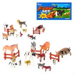 Животные H 639-1-2  домашние, забор, 2 вида, 15шт в кульке, 32,5-23-6см