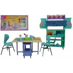 """Мебель """"Gloria"""" 21011 для столовой, стол, стулья, буфет, посуда,в кор. 32*17*7 cm"""