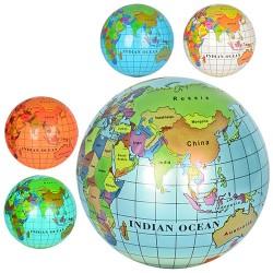 Мяч детский MS 0477 9 дюймов, глобус, рисунок, ПВХ, 75г, 6 цветов, в кульке,