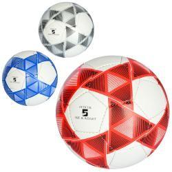 Мяч футбольный 2500-70 размер 5, ПУ1,4мм, 420-430г,ручная работа, 3цв, в кульке,1цвет в ящике