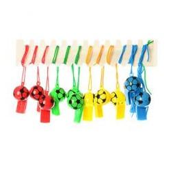 Свисток MS 0364-1пластик, со шнуром, 4 цвета, футбол, 5,5-3-3см