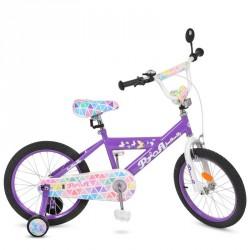 Велосипед детский PROF1 18д. L18132 Butterfly 2,сиреневый, звонок,доп.колеса