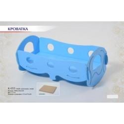 Кроватка для кукол Голубая (размер 480*250*230)