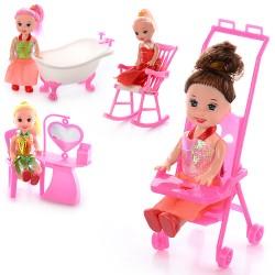 Кукла 9905-86-88 B (10см, мебель, 4 вида, в кульке, 9-10-2,5см