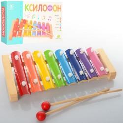 Деревянная игрушка Ксилофон MD 0713  металлические пластины, 8 тонов, в кор-ке,24,5-13-4 см