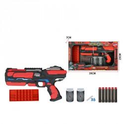 Бластер FJ883 с мягкими патронами и банками-мишенями батар.свет.кор.39*7*23