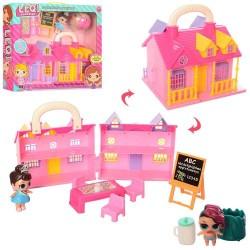 Домик TM863E 16,5-17-14см,мебель,кукла8см,мольберт,шар+кукла3см,кор,35-29,58см