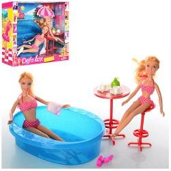Кукла DEFA 8255 29см, с сестричкой 21см, бассейн 20-20см, в кор-ке, 36,5-31-10см
