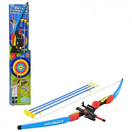 Лук M 0006 U/R  прицел, лазер, стрелы на присосках 3шт, лазер, в кор-ке, 95-20-5см