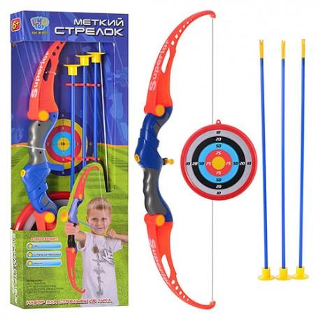 Лук M 0037  стрелы на присосках, мишень, в кор-ке, 65,5-24,5-5см