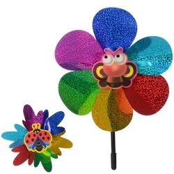 Ветрячок M 0801 размер маленький,диам.19,5см,палочка36см,цветок,фольга,микс видов,