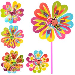Ветрячок M 0804 ( 10шт,в УПАКОВКЕ!! размер,цветок,диаметр22см,палочка 28см,6 видов,в кул,22-22-2см