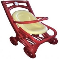 Візок для ляльок з шезлонгом,(сидячая.красно-бежевая)