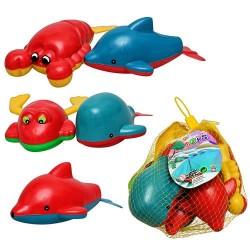 Водоплавающая игрушка M 0979 животные, 5 шт в сетке, заводные, в сетке, 14-6см
