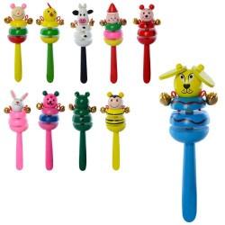 Деревянная игрушка Бубен MD 2050 16см, 12видов(животные) в кульке, 16-5,5-3,5см