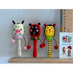 Деревянная игрушка Погремушка-барабанчик W02-4320 6цв.13см