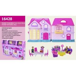 Домик 16428 батар, муз_свет, фигурки семьи, мебель, в кор.74,5*12,5*50см