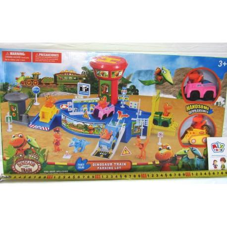 Игровая площадка Динозаврики 509, 2 фигурки на машинах, 50-26см в коробке