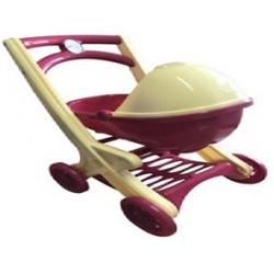 Візок для ляльок з люлькою,(бежево-розовая)