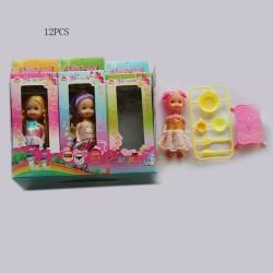Кукла маленькая 356   в наборе с посудкой и мебелью, 3 вида микс, в кор.17*6,6*3,3 см